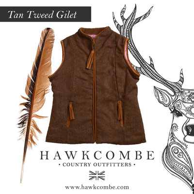 Brown tweed gillet and flora, Social Media Graphics created by Design By Pie, Freelance graphic designer, North Devon