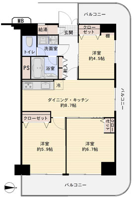 コトー多摩川333号室間取り