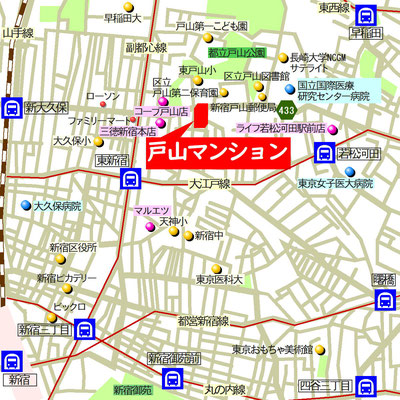 戸山マンションアクセスマップ