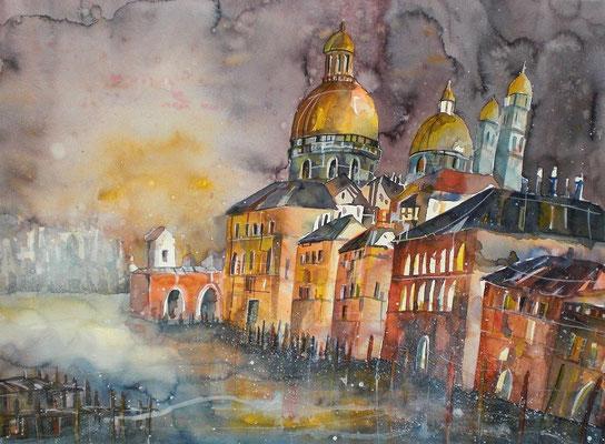 Aquarell Venedig bei Sonnenuntergang  45.5 x 61