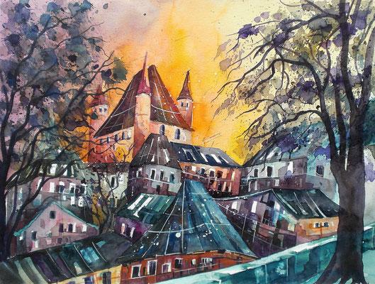 Thun Blick aufs Schloss   50 x 65