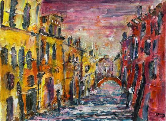 Acryl Mischtechnik   Venedig   30 x 40