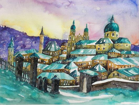 Blick auf den verschneiten Salzburger Dom   50 x 65