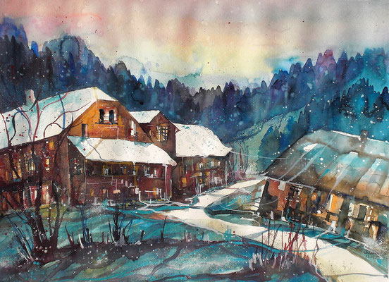 Bauernhäuser in Boll  46 x 61