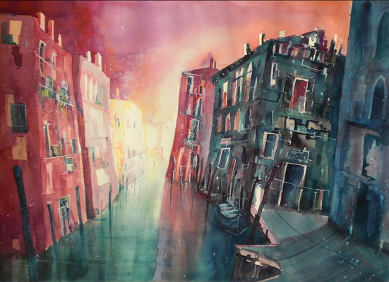 Venedig Aquarell, Rio di San Pantalon   46 x 61