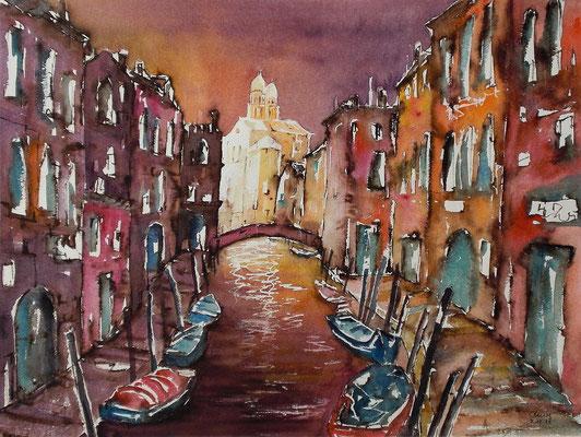 Venedig im Abendlicht, Blick auf Ognissanti  46 x 61