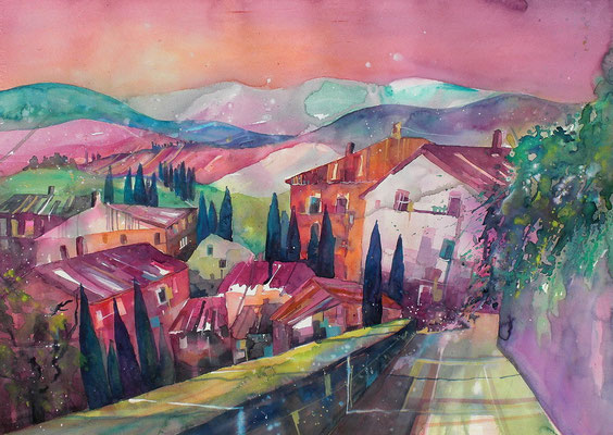 Toskana Dorf  56 x 76