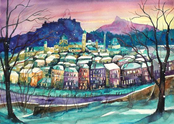 Salzburger Altstadt im Winter    56 x 76