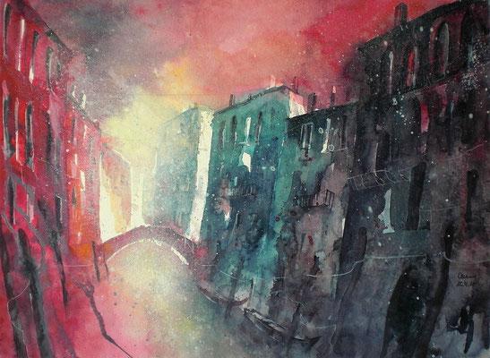 Aquarell Venedig im Abendlicht  35 x 51