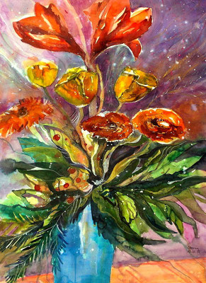 Lilien in Vase  50 x 65