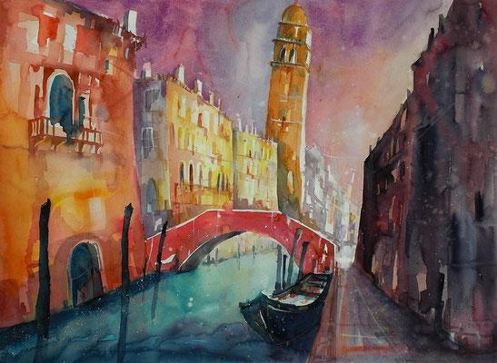 Aquarell Venedig, Rio di San Lorenzo   46 x 61