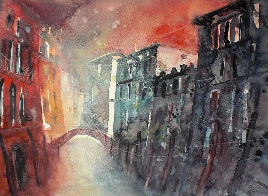 Aquarell Venedig im Abendlicht 3  36 x 48