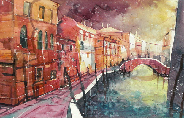 Aquarell Venedig bei Sonnenuntergang  30 x 40