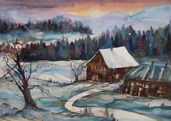 Winterlandschaft mit Bauernhäuser 56 x 76