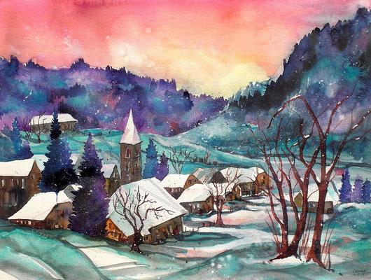 Emmentaler Dorf im Winter  56 x 76