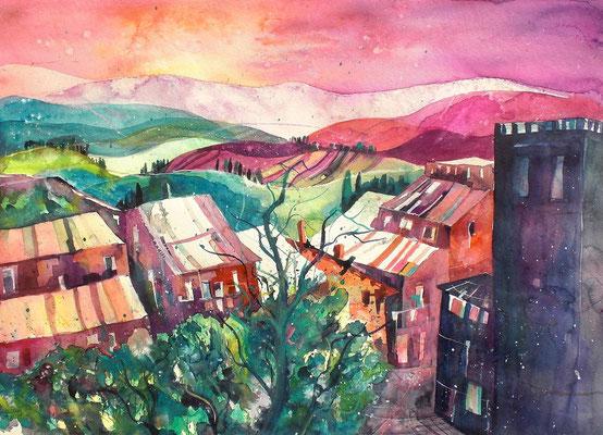 Dorf in der Toscana   56 x 76