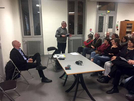 MM Garès d'Europolia (à gauche) et Mebaoudj du Collectif Non au Gratte_ciel de Toulouse (au fond)