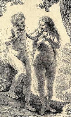 """Ist das Paradies noch zu retten? - Rembrandts Radierung """"Adam und Eva"""" -  kunstgeschichte-in-einzels Webseite!"""