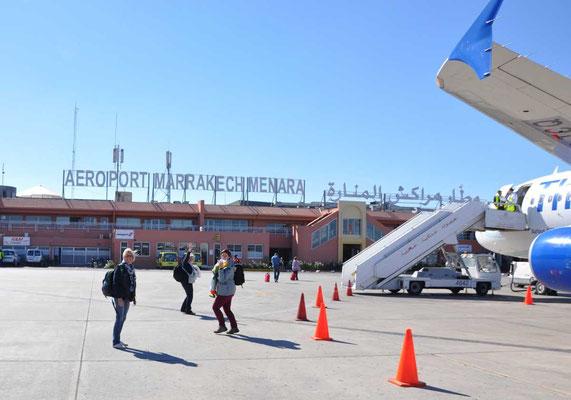 Aankomst op luchthaven 'Menara' van Marrakech