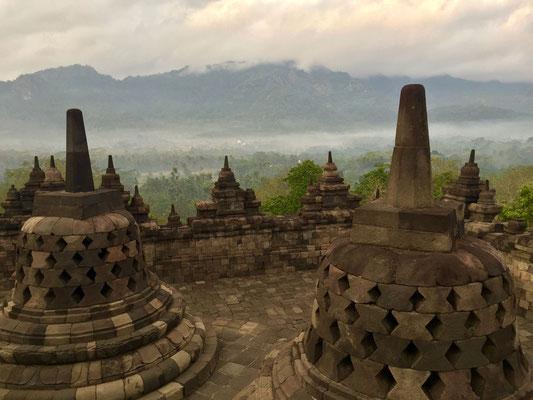 De vele stupa's die deel uitmaken van deze immense tempel