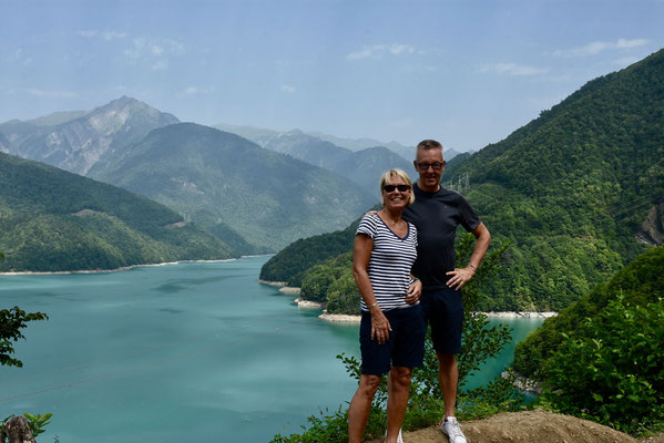 Het Jvari-reservoir tussen Zugdidi en Mestia