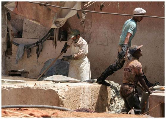 de leerlooiers ' Les Tanneries' van Marrakech.