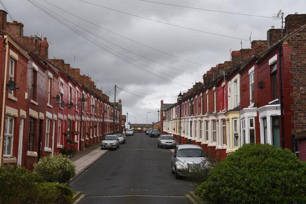 Een van de nog vele arbeiderswijken in Liverpool