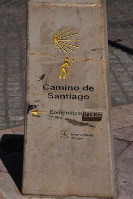 Richtingwijzer van de 'camino' naar Santiago de Compostela