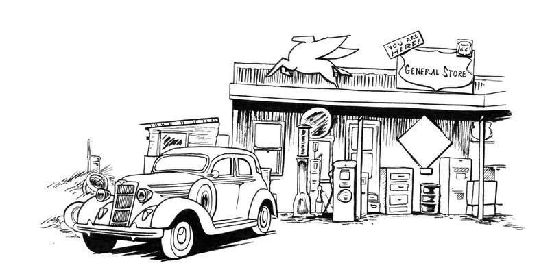 bd-bonnie-and-clayde-croquis-personnages-encrage-ambiance-decors-voitures-recherches-salembier-francois