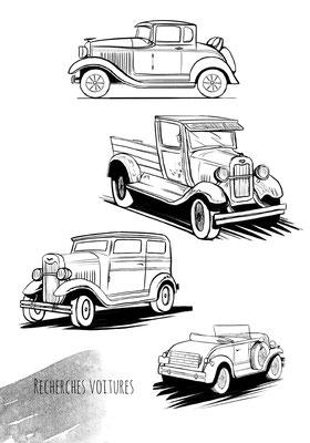 bd-bonnie-and-clayde-croquis-véhicules-voitures-encrage-recherches-salembier-francois