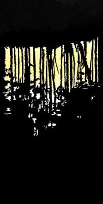 Martina Lückener  Humsjön 211x102 cm Papierschnitt  2009-2012