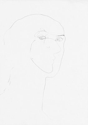 Martina Lückener  Selbstbildnis  42 x 27 cm 2000