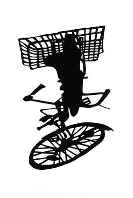Martina Lückener  Rad mit Korb 160x90cm Filzschnitt 2009