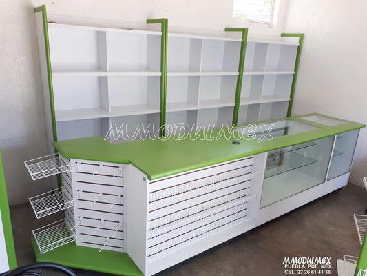 Mostradores para negocios, muebles de madera, mostradores para tiendas, mostradores para papelerías, mostradores para farmacias