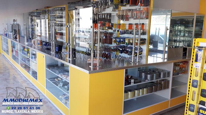mostradores para ferretería, muebles para ferretería, góndolas para ferretería, vitrinas para ferretería, estantes para ferretería