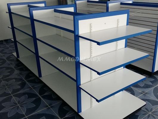 Muebles de tiendas tipo oxxo, mostradores para farmacia, estantes para tiendas, vitrinas para papelería, góndolas de melamina