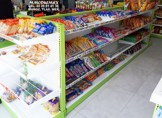 Góndola para tienda, Gondolas metalicas para supermercado, góndolas para abarrotes, estantería para minisuper