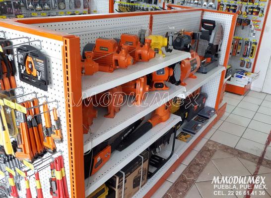 Góndola metálica para ferretería, muebles para ferretería, mostrador para ferretería, anaqueles para ferretería.