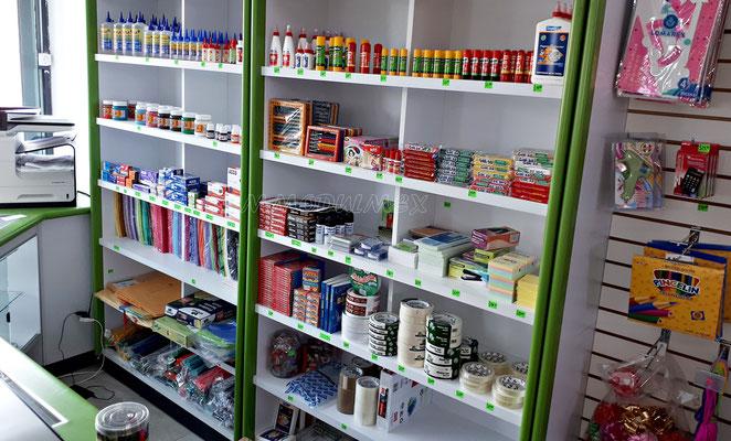 mostradores de madera, vitrinas para farmacia, vitrinas para papeleria, muebles para farmacia, muebles para papeleria, góndolas metálicas