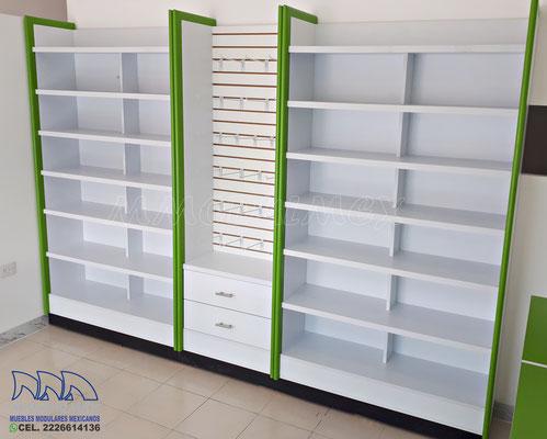 Vitrina para farmacia, vitrina para papeleria, estantes para papeleria