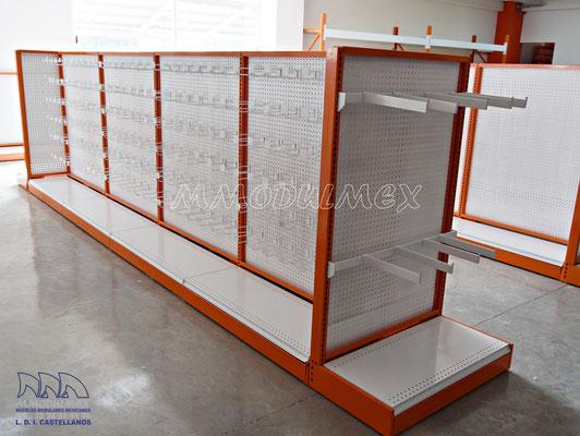 Muebles y mostradores para ferreterías tipo FIX o TRUPER, anaqueles para ferreterías, rack para ferretería, góndolas para ferreterías