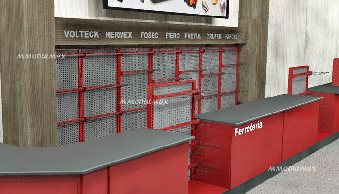 Muebles para ferreterías, mostradores para ferreterías, anaqueles para ferreterías, estantes para ferreterías, aparadores para ferreterías