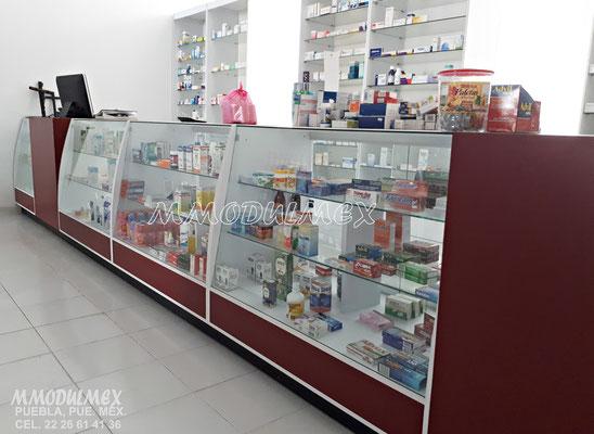 Vitrinas para farmacias, vitrinas para papelerías, vitrinas para tiendas, mostradores para negocios