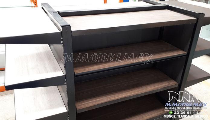 Góndolas metálicas con entrepaños de madera, triplay, melamina, obs, góndolas metálicas combinadas