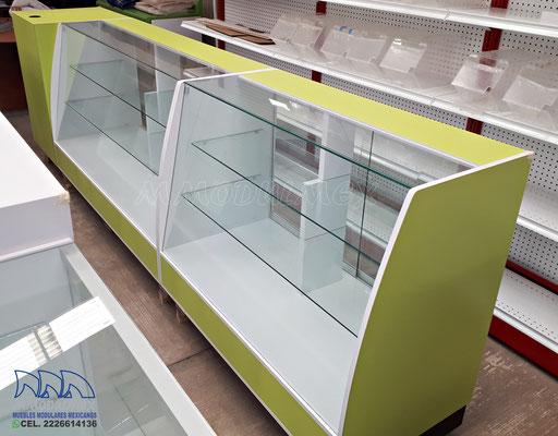 mostradores de madera, vitrinas para papeleria, muebles para farmacia, muebles para papeleria, góndolas metálicas