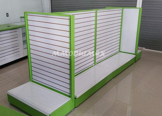 Vitrinas para farmacias, vitrinas para papelerías, mostradores, góndola metálica