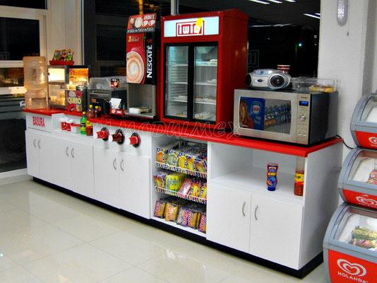 Muebles de tiendas tipo oxxo, mostradores para farmacia, estantes para tiendas, vitrinas para papelería, barras para cafetería