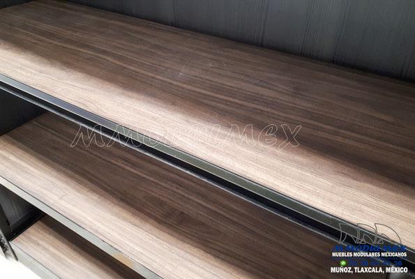 Góndolas metálicas con entrepaños de madera, triplay, melamina, obs, góndolas metálicas combinadas, góndolas para loza