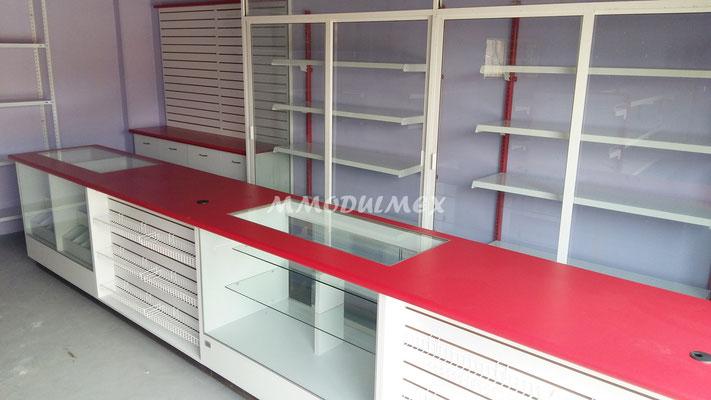 Vitrinas para farmacias, vitrinas para papelerías, mostradores