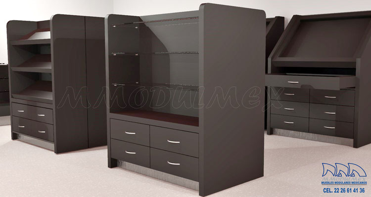 Muebles para boutique, muebles para perfumería, muebles para cosméticos, vitrinas para cosméticos, vitrinas para perfumes, exhibidores para cosméticos